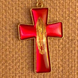 Crucifix Necklace Ruby Red Golden Cross Christian